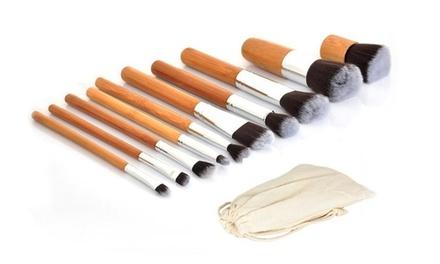 1, 2 o 3 sets de 10 brochas de bambú para maquillaje